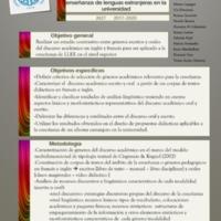 Proyecto J027: Diferencias y puntos de contacto entre el discurso didáctico oral y el escrito en francés e inglés y su vinculación con la enseñanza de lenguas extranjeras en la universidad