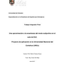 Una aproximación a la enseñanza del modo subjuntivo en elaula de ELE : proyecto de aplicación en la Universidad Nacional del Comahue